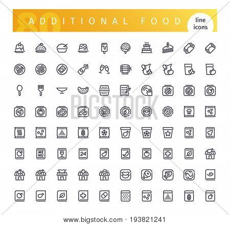 Set of 80 additional food line icons suitable for web, infographics and apps. Isolated on white background. Clipping paths included.