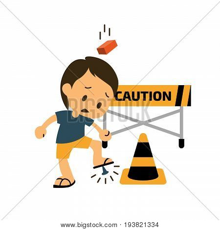 Safety and accident character. safety first. Vector illustration