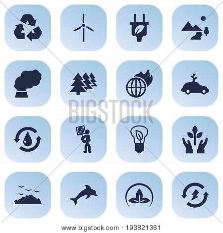 Set Of 16 Ecology Icons Set.Collection Of Leaf, Reforestation, Renewable And Other Elements.