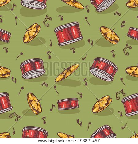 Seamless Pattern. Cymbals, Drums and Music Notes on a Green Background