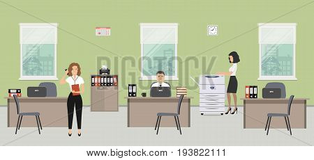 Office room in a green color. The young women and man are employees at work. There is beige furniture, a copy machine on a window background in the picture. Vector illustration.