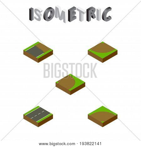 Isometric Road Set Of Sand, Driveway, Turn Vector Objects. Also Includes Turn, Incomplete, Single Elements.