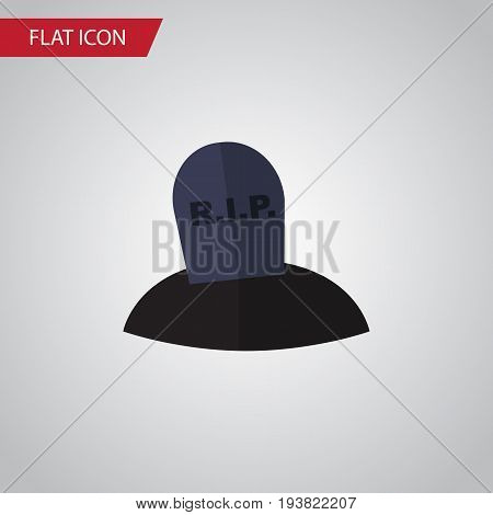 Isolated Grave Flat Icon. Tomb Vector Element Can Be Used For Grave, Tomb, Rip Design Concept.