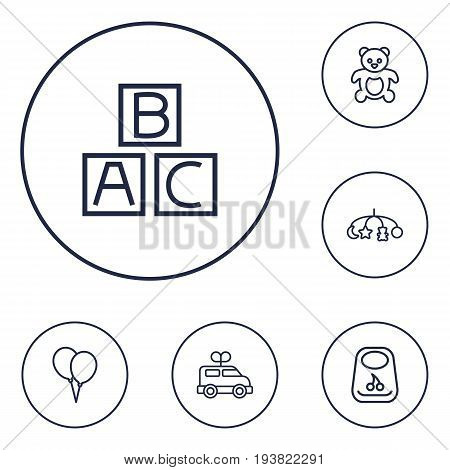 Set Of 6 Child Outline Icons Set.Collection Of Alphabet Cubes, Toys, Balloon And Other Elements.
