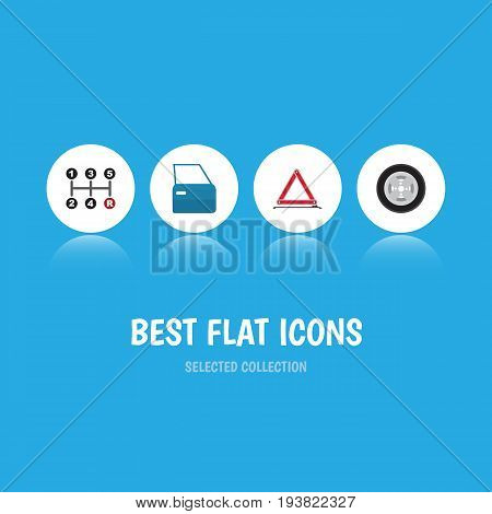 Flat Icon Auto Set Of Carrying, Warning, Automobile Part And Other Vector Objects. Also Includes Emergency, Automobile, Door Elements.