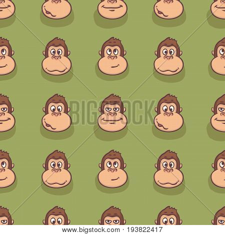 Seamless Pattern. Monkey Faces on a Green Background
