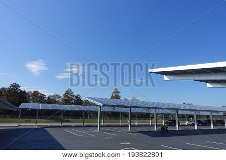 HOUSTON, USA - JANUARY 12, 2017: Some cars parked, with a solar panel protecting from the sun the cars in Legoland park, Legoland is a theme park based on the popular LEGO brand of building toys.