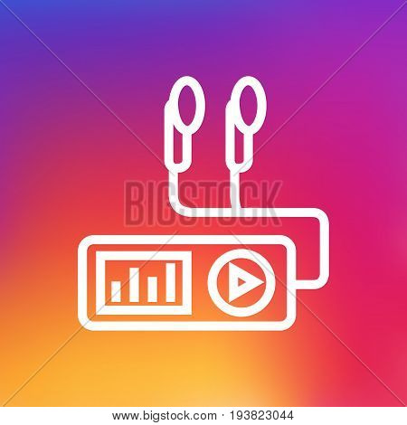 Isolated Audio Player Outline Symbol On Clean Background. Vector Turntable Element In Trendy Style.