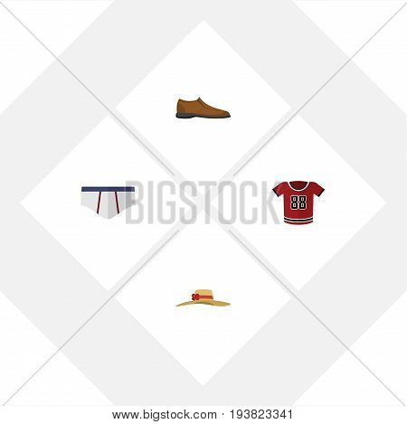 Flat Icon Garment Set Of Elegant Headgear, Male Footware, T-Shirt And Other Vector Objects. Also Includes Man, Underwear, Hat Elements.
