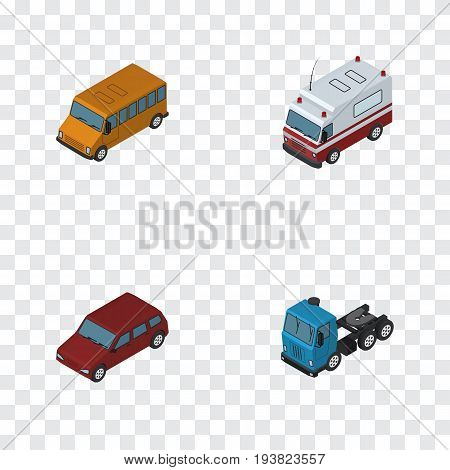 Isometric Car Set Of Truck, Car, First-Aid And Other Vector Objects. Also Includes Sedan, Auto, Drive Elements.