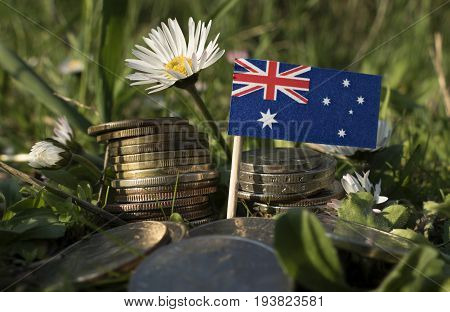 Australian Flag With Stack Of Money Coins With Grass And Flowers