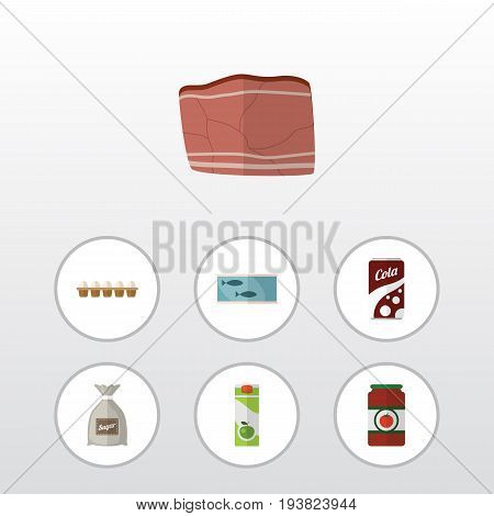Flat Icon Eating Set Of Beef, Eggshell Box, Sack And Other Vector Objects. Also Includes Eggshell, Canned, Tuna Elements.