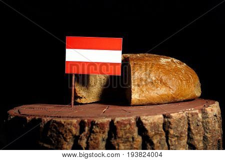 Austrian Flag On A Stump With Bread Isolated