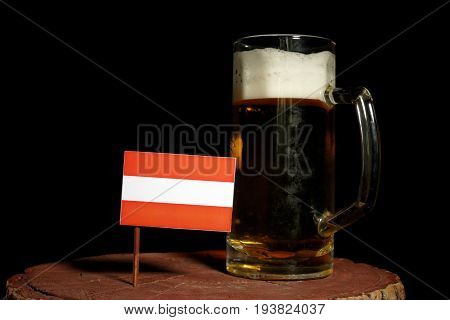 Austrian Flag With Beer Mug Isolated On Black Background