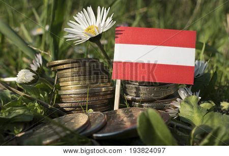 Austrian Flag With Stack Of Money Coins With Grass And Flowers