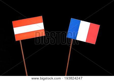 Austrian Flag With French Flag Isolated On Black Background