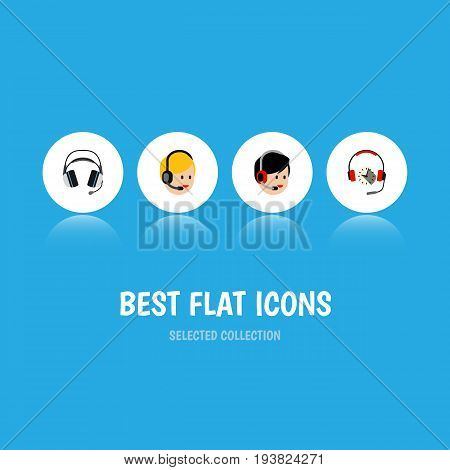 Flat Icon Call Set Of Operator, Call Center, Earphone And Other Vector Objects. Also Includes Service, Headphone, Hotline Elements.