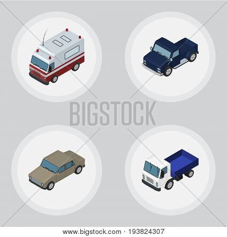 Isometric Automobile Set Of Auto, Suv, First-Aid And Other Vector Objects. Also Includes Lorry, Transport, Suv Elements.