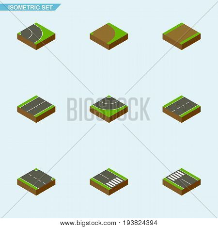 Isometric Road Set Of Footpath, Road, Plane And Other Vector Objects. Also Includes Rotation, Bitumen, Strip Elements.