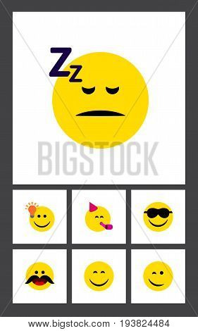 Flat Icon Emoji Set Of Asleep, Cheerful, Party Time Emoticon And Other Vector Objects. Also Includes Winking, Idea, Smile Elements.
