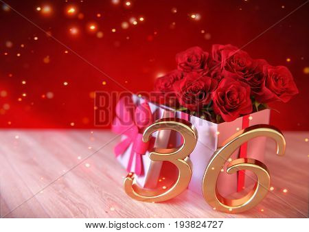birthday concept with red roses in gift on wooden desk. 3D render - thirty-sixth birthday. 36th