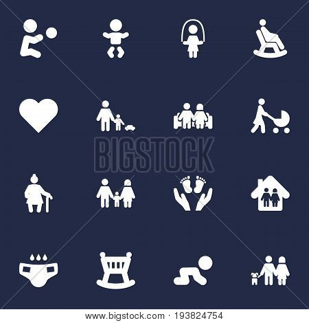 Set Of 16 Family Icons Set.Collection Of Rocking Chair, Nappy, Perambulator And Other Elements.