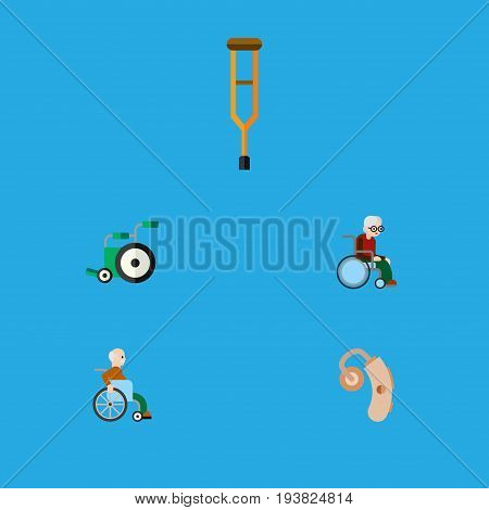 Flat Icon Cripple Set Of Equipment, Handicapped Man, Stand Vector Objects. Also Includes Hearing, Equipment, Aid Elements.