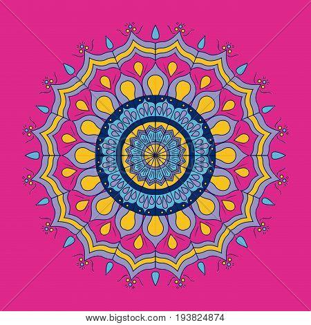 fuchsia background with colorful ornamental flower mandala vintage decorative vector illustration