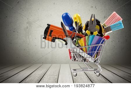 Work tool hardware store shopping shopping cart store construction business