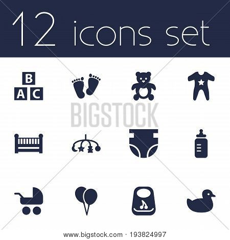 Set Of 12 Kid Icons Set.Collection Of Decoration, Milk, Breastplate And Other Elements.