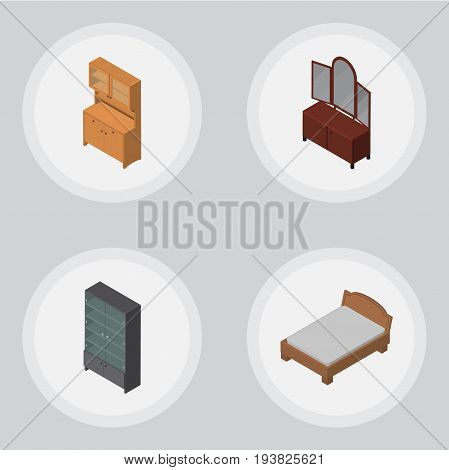 Isometric Furniture Set Of Drawer, Sideboard, Cupboard And Other Vector Objects. Also Includes Bed, Sideboard, Furniture Elements.