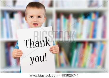 Holding board boy text elementary age thank you preadolescent child