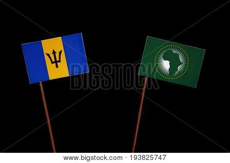 Barbados Flag With African Union Flag Isolated On Black Background