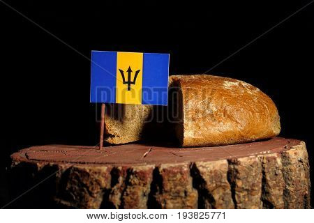 Barbados Flag On A Stump With Bread Isolated