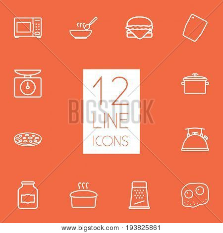 Set Of 12 Culinary Outline Icons Set.Collection Of Pan, Omelette, Microwave And Other Elements.
