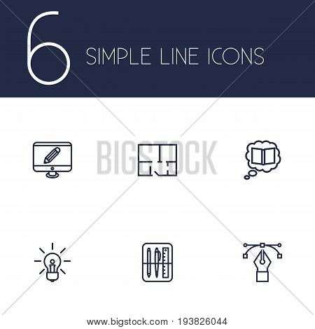 Set Of 6 Constructive Outline Icons Set.Collection Of Bezier Curve, Knowledge, Monitor And Other Elements.