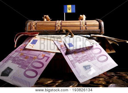 Barbadian Flag On Top Of Crate Full Of Money