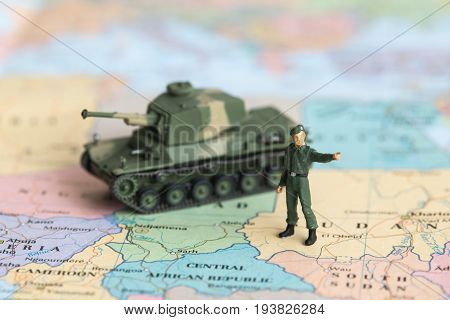 Soldier And Tank Plastic As World War On Map, War, Fight Army Soldier Tank Sample Picture Or War Sce