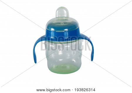 Anti-colic baby bottle isolated on white background.