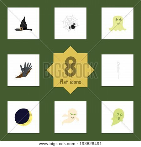 Flat Icon Celebrate Set Of Phantom, Ghost, Spinner And Other Vector Objects. Also Includes Crescent, Wizard, Moon Elements.