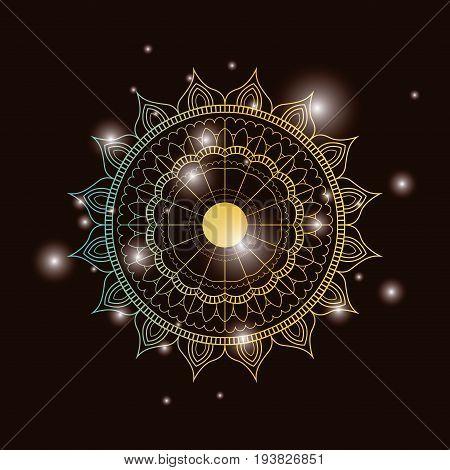 brown dark color background with brightness and colorful brilliant flower mandala vintage decorative ornament vector illustration