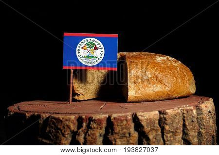 Belize Flag On A Stump With Bread Isolated
