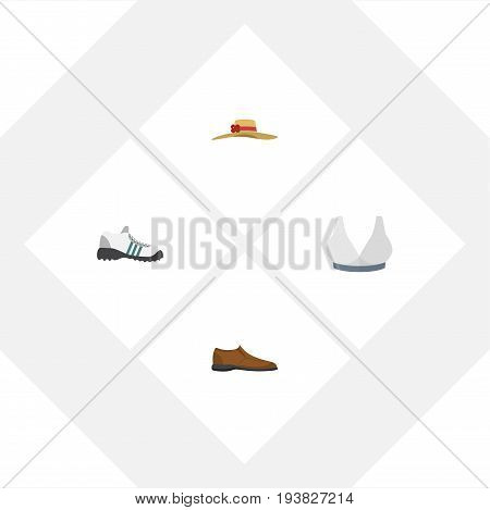 Flat Icon Clothes Set Of Brasserie, Male Footware, Sneakers And Other Vector Objects. Also Includes Headgear, Sneakers, Shoes Elements.