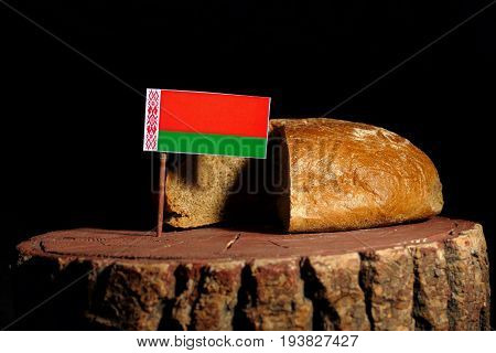 Belarus Flag On A Stump With Bread Isolated