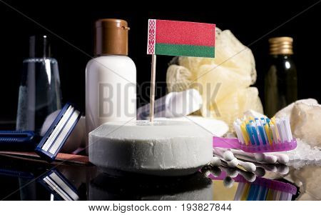 Belorussian Flag In The Soap With All The Products For The People Hygiene