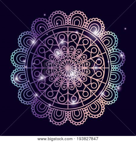 blue dark color background with brightness and colorful brilliant ornamental flower mandala vintage decorative vector illustration