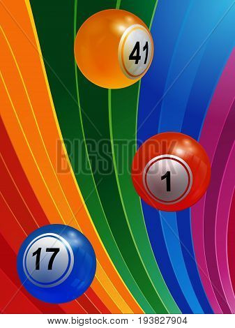 3D Illustration of Bingo Balls Over Multicoloured Striped Background