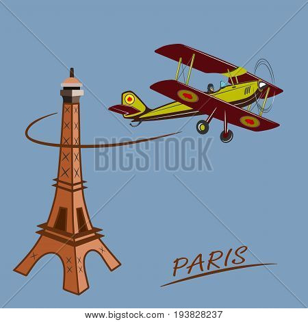 Sports, excitement and travel around the world in flight.  vintage biplane flies around the Eiffel Tower.