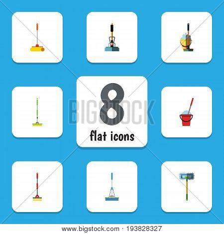 Flat Icon Cleaner Set Of Besom, Sweep, Broom And Other Vector Objects. Also Includes Bucket, Cleaning, Cleaner Elements.