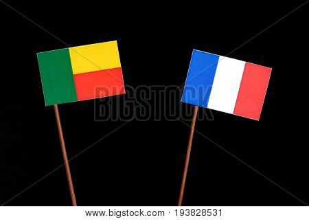 Benin Flag With French Flag Isolated On Black Background